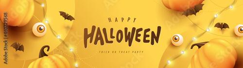 Obraz na plátně Happy Halloween banner or party invitation background with pumpkins Festive Elem