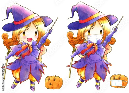 Fototapeta ハロウィン魔女コスチューム女の子。新型ウィルス対策で医療用マスクをしたお魔女と南瓜セット。