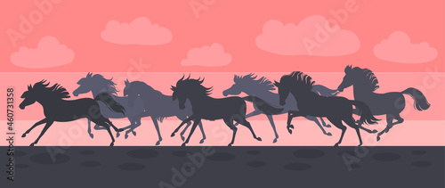 Fotografiet silhouetted horses gallop on sunset.