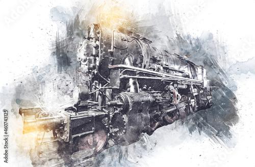 Fotografie, Obraz Steam locomotive detail with cranks and wheels, art, illustration, drawing, sketch, antique, retro, vintage