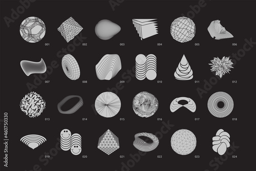 Canvas Strange Vector Shapes Collection. Geometric figures, distortion.