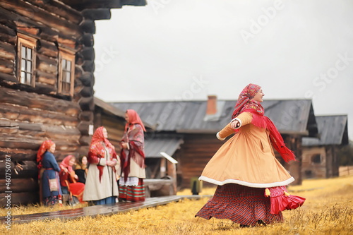 Canvas-taulu Traditional Slavic rituals in the rustic style