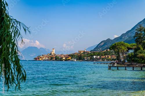 Obraz na plátně Lake Garda and the historic center of Malcesine.