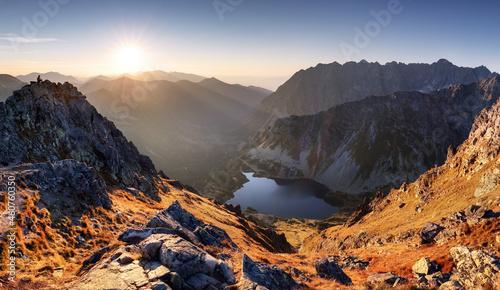 Mountain sunset autumn Tatra landscape, Slovakia and Poland