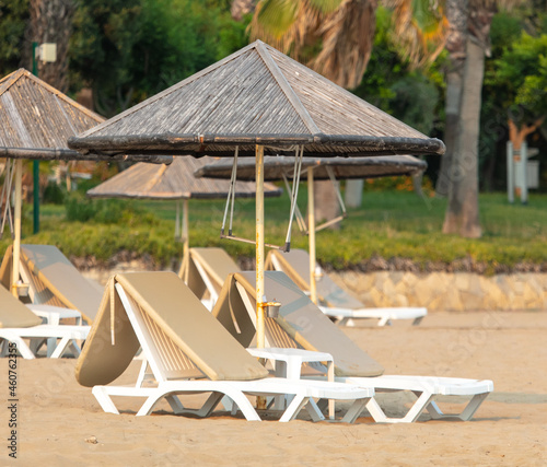 Fotografie, Obraz Sun loungers on the beach.