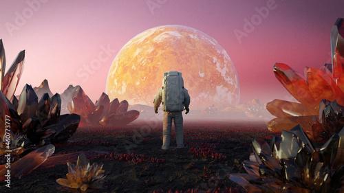 Obraz na plátně astronaut on alien planet, beautiful exoplanet landscape with giant crystals