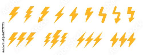 Cuadros en Lienzo Lightning bolt vector icon set.