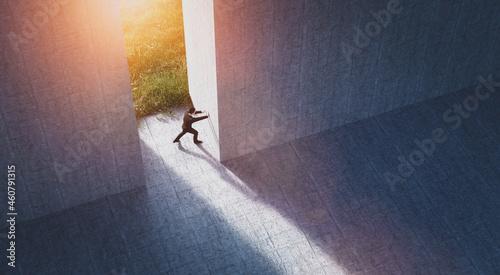 Fotografija Businessman pushing big wall to reveal new better green world