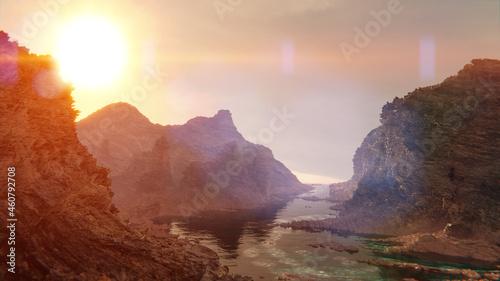 Foto strange rocky landscape at sunrise, rough ground background