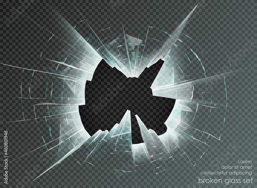 Fotografiet hole broken glass on transparent background