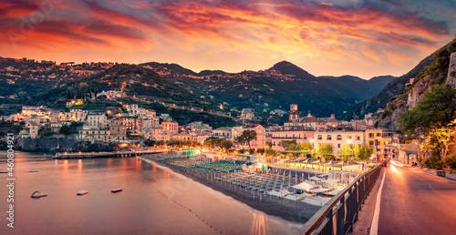 Fototapeta Fantastic sunset on the Mediterranean cost