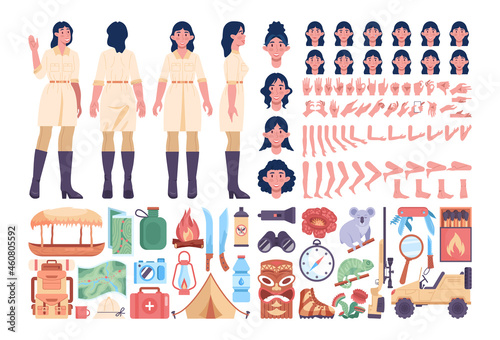 Wallpaper Mural Jungle expedition female guide set