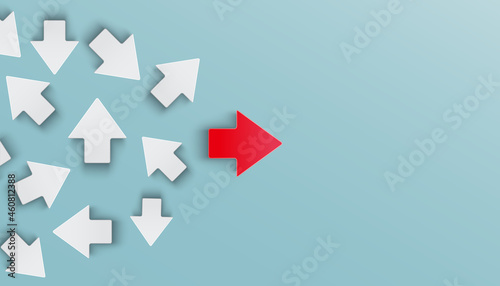 Leadership success business concept, many arrows pointing in different directions with arrows in the middle forming straight path. Plan, courage, career, new thinking, solution, creative decision.