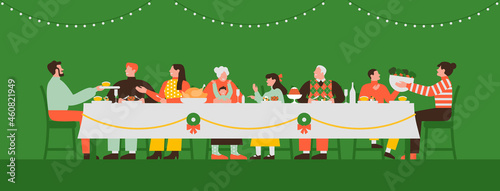 Family eating christmas dinner in table together