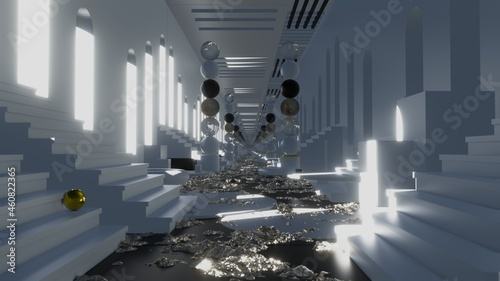 Fotografiet Tunnel podium in clean scene geometric is motion footage for commercials films a