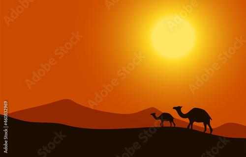 Billede på lærred Cartoon desert landscape with hills, camels and mountains silhouettes, nature ve