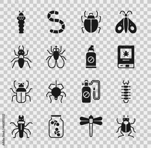 Set Beetle bug, Centipede, Book about insect, Mite, Insect fly, Ant, Larva and Spray against insects icon Fototapete