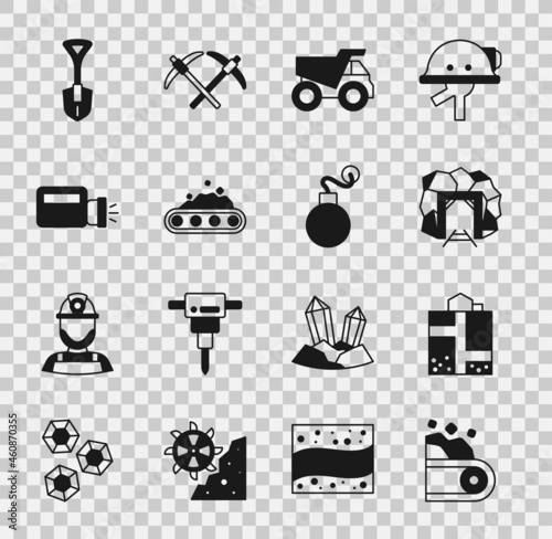 Fototapeta Set Conveyor belt carrying coal, Mine entrance, Mining dump truck, Flashlight, Shovel and Bomb icon