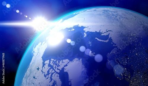 Fotografie, Obraz Earth, North Pole side, view at north Canada and Russia, sun glare