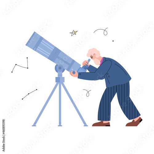 Astronomy scientist or stargazer observing stars vector illustration isolated Fototapet