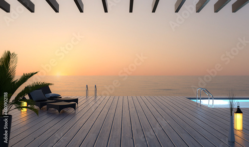 Fotografie, Obraz Sonnenterrasse mit Sonnenliegen bei Sonnenuntergang