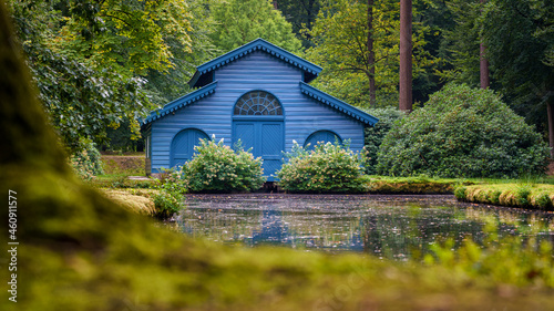 Photo Blue boathouse with characteristic architecture
