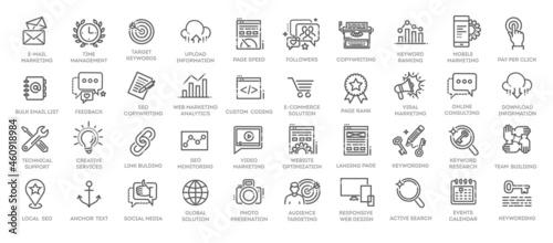 Fényképezés Outline web icons set - Search Engine Optimization
