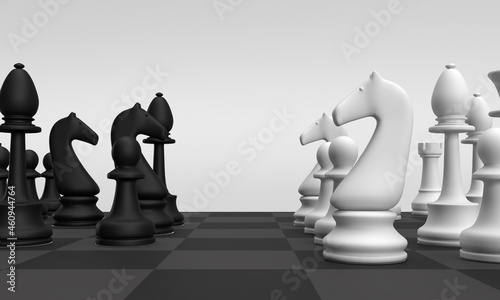 Fotografiet Chees board black and white king  bishop pawn game symbol business management economic strategy target plan goal decision financial marketing teamwork job career tactic winner victory