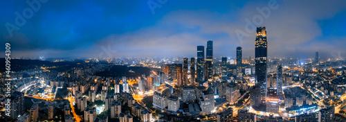 Canvastavla Night view of urban CBD in Nanning, Guangxi, China