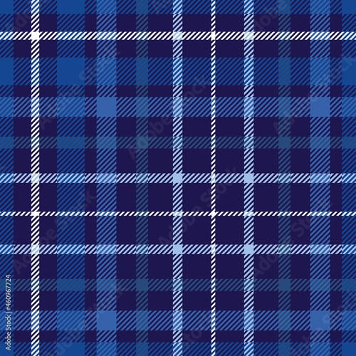 Fototapeta Seamless plaid check pattern in dark blue, navy and white.