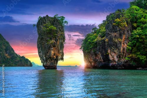 James Bond island at sunset in Phang nga, Thailand.