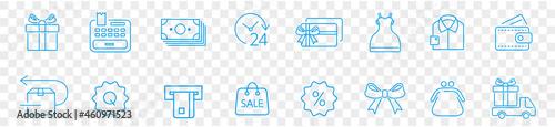 Fotografia, Obraz Shopping malls, icons collection, retail outline vector