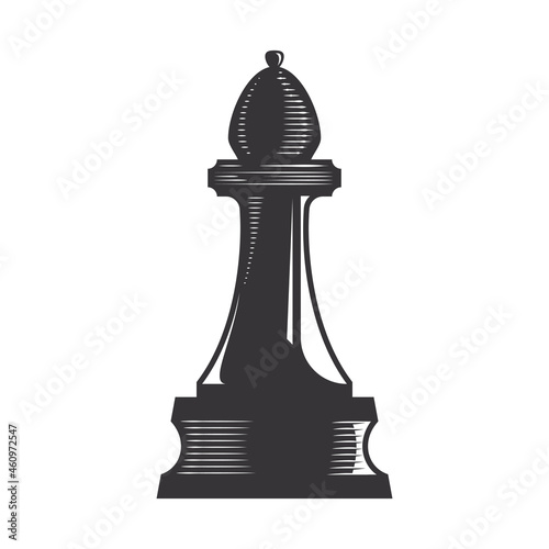Canvastavla Chess Bishop vector line art illustration.