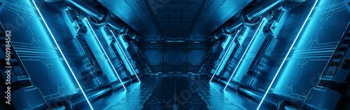 Fotografija Blue spaceship interior with neon lights on panel walls