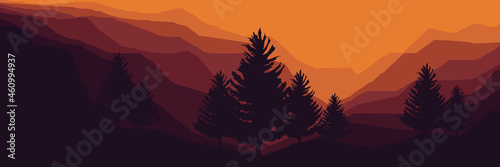 Fotografiet landscape mountain scenery with pine tree silhouette vector illustration for pat