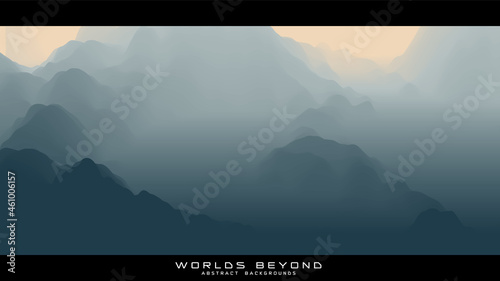 Photo Abstract gray landscape with misty fog till horizon over mountain slopes