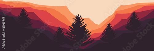 Fotografia, Obraz mountain landscape with pine tree silhouette vector flat design good for wallpap