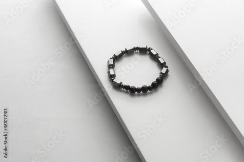 Valokuva Silver stone bracelet on white board