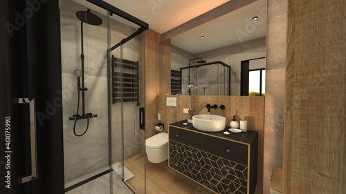 Fotografie, Obraz baño con ducha y estilo cemento y madera