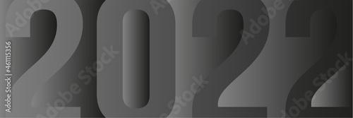 carte ou bandeau sur le chiffre 2022 dans plusieurs nuance de gris sur un fond g Fototapet