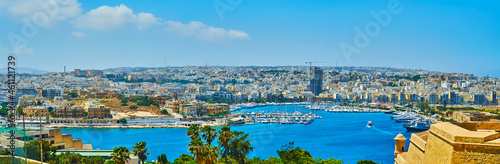 Fotografie, Obraz Panorama from St Michael Bastion, Valletta, Malta