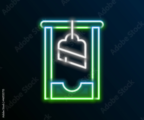 Fotografie, Obraz Glowing neon line Guillotine medieval execution icon isolated on black background