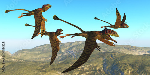 Peteinosaurus Reptile Flight - A flock of Peteinosaurus reptiles fly over a mountainous landscape during the Triassic Age of Italy Fotobehang