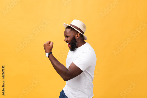 Handsome young Afro-American man employee feeling excited, gesturing actively, k Fototapet