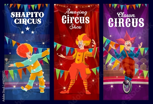 Fototapeta Shapito circus clowns, jesters and harlequin vector characters performing comedy show on carnival stage