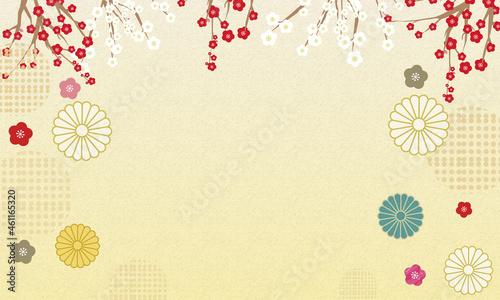 Photo 背景に使いやすい豪華に見える菊のベクター和模様のフレーム