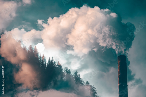 Billede på lærred Double exposure of chimney smoke and forest.