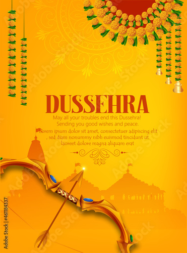 Canvas Print Happy Dussehra illustration Of  Lord Rama With Bow And Arrow For Happy Dussehra