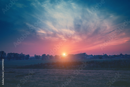 Fotografering Rural landscape at sunset