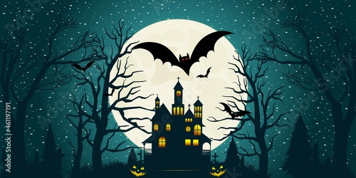 Foto Halloween night moon composition with glowing pumpkins vintage castle and bats f